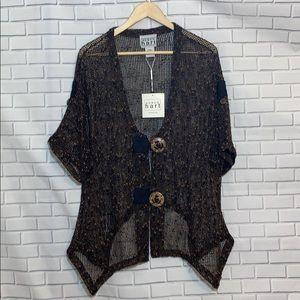Keren Hart Slub Knit Cardigan Size L NWT